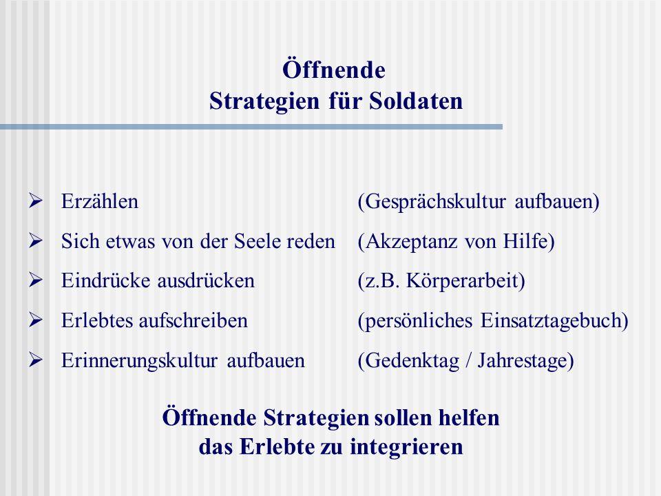 Öffnende Strategien für Soldaten Erzählen (Gesprächskultur aufbauen) Sich etwas von der Seele reden (Akzeptanz von Hilfe) Eindrücke ausdrücken (z.B. K