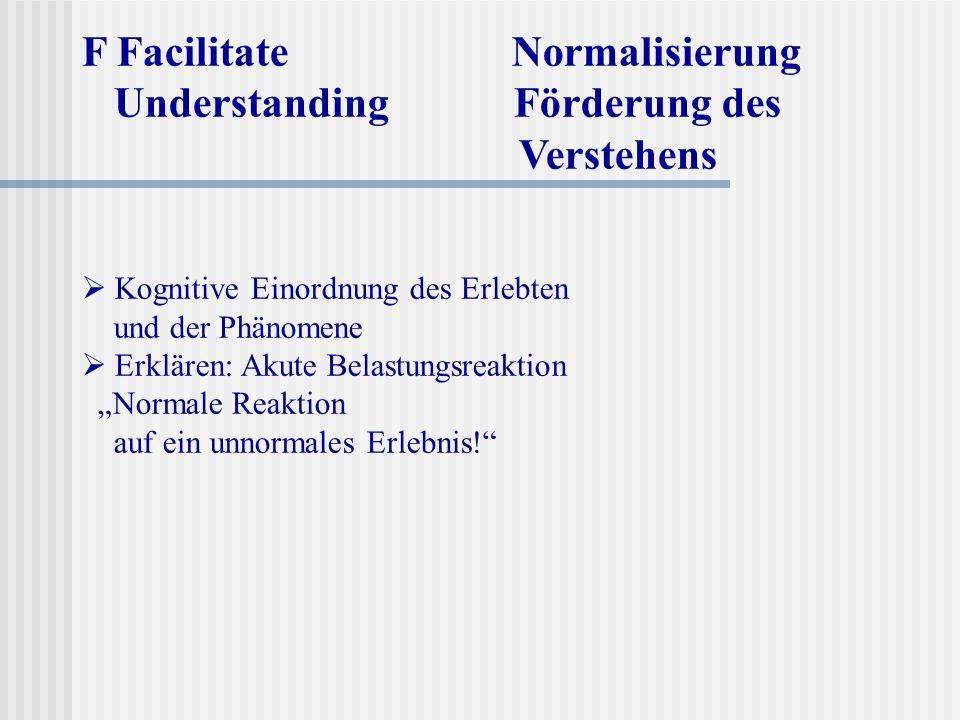 F Facilitate Normalisierung Understanding Förderung des Verstehens Kognitive Einordnung des Erlebten und der Phänomene Erklären: Akute Belastungsreakt