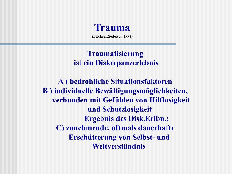 Traumatisierung ist ein Diskrepanzerlebnis A ) bedrohliche Situationsfaktoren B ) individuelle Bewältigungsmöglichkeiten, verbunden mit Gefühlen von H