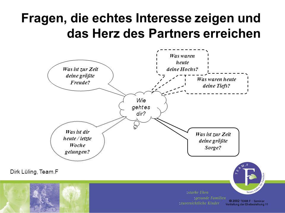 2002 TEAM.F Seminar Vertiefung der Ehebeziehung 11 Fragen, die echtes Interesse zeigen und das Herz des Partners erreichen Was ist dir heute / letzte Woche gelungen.