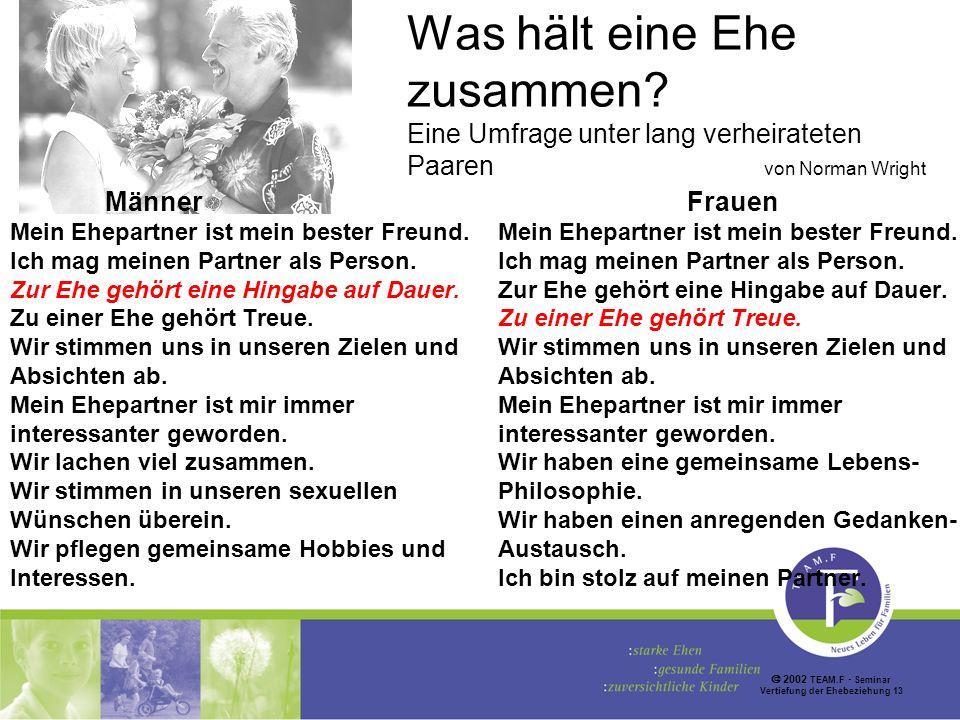 2002 TEAM.F Seminar Vertiefung der Ehebeziehung 13 Was hält eine Ehe zusammen.