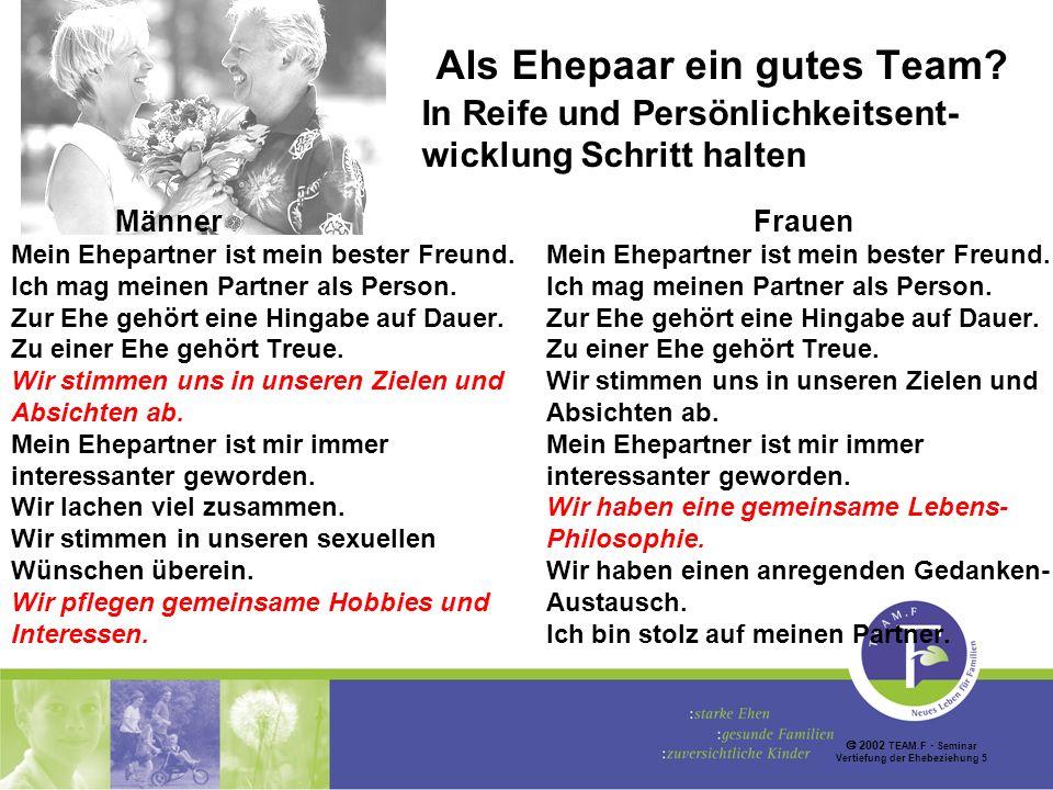 2002 TEAM.F Seminar Vertiefung der Ehebeziehung 5 Als Ehepaar ein gutes Team.