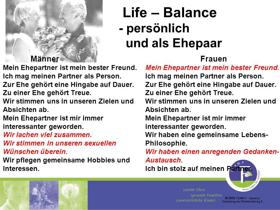 2002 TEAM.F Seminar Vertiefung der Ehebeziehung 8 Life – Balance - persönlich und als Ehepaar Männer Mein Ehepartner ist mein bester Freund.