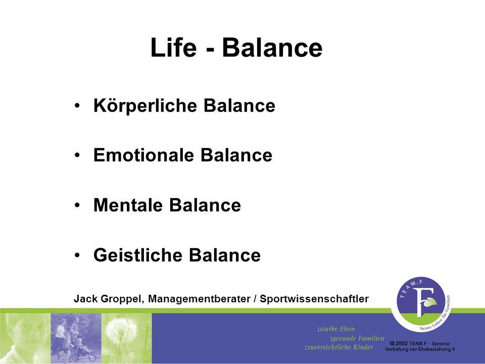 2002 TEAM.F Seminar Vertiefung der Ehebeziehung 9 Life - Balance Körperliche Balance Emotionale Balance Mentale Balance Geistliche Balance Jack Groppel, Managementberater / Sportwissenschaftler