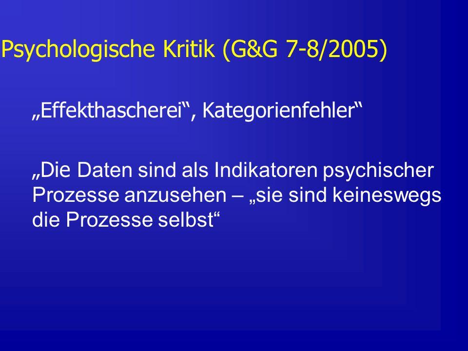 Psychologische Kritik (G&G 7-8/2005) Effekthascherei, Kategorienfehler Die Daten sind als Indikatoren psychischer Prozesse anzusehen – sie sind keineswegs die Prozesse selbst