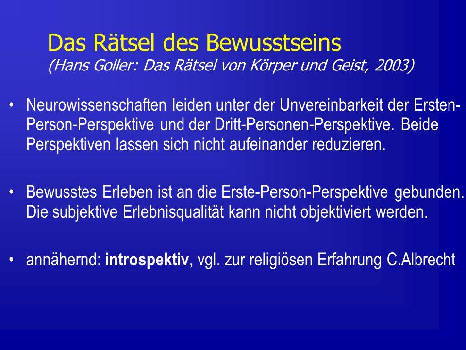 Neurowissenschaften leiden unter der Unvereinbarkeit der Ersten- Person-Perspektive und der Dritt-Personen-Perspektive.