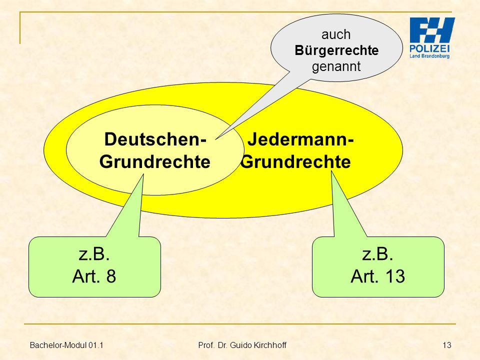 Bachelor-Modul 01.1 Prof. Dr. Guido Kirchhoff 13 Jedermann- Grundrechte Deutschen- Grundrechte z.B. Art. 8 z.B. Art. 13 auch Bürgerrechte genannt