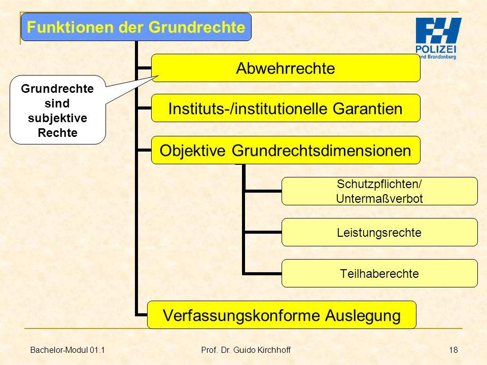 Bachelor-Modul 01.1 Prof. Dr. Guido Kirchhoff 18 Funktionen der Grundrechte Abwehrrechte Instituts-/institutionelle Garantien Objektive Grundrechtsdim