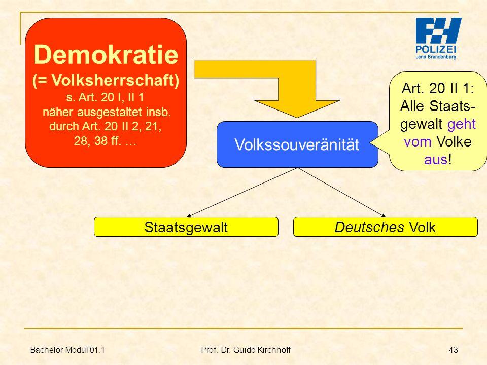 Bachelor-Modul 01.1 Prof. Dr. Guido Kirchhoff 43 Volkssouveränität StaatsgewaltDeutsches Volk Demokratie (= Volksherrschaft) s. Art. 20 I, II 1 näher