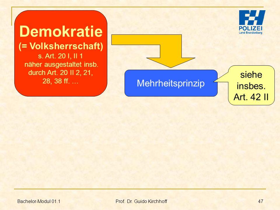 Bachelor-Modul 01.1 Prof. Dr. Guido Kirchhoff 47 Mehrheitsprinzip Demokratie (= Volksherrschaft) s. Art. 20 I, II 1 näher ausgestaltet insb. durch Art