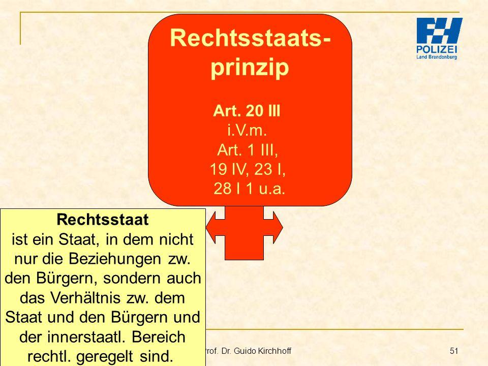 Bachelor-Modul 01.1 Prof. Dr. Guido Kirchhoff 51 Rechtsstaat ist ein Staat, in dem nicht nur die Beziehungen zw. den Bürgern, sondern auch das Verhält