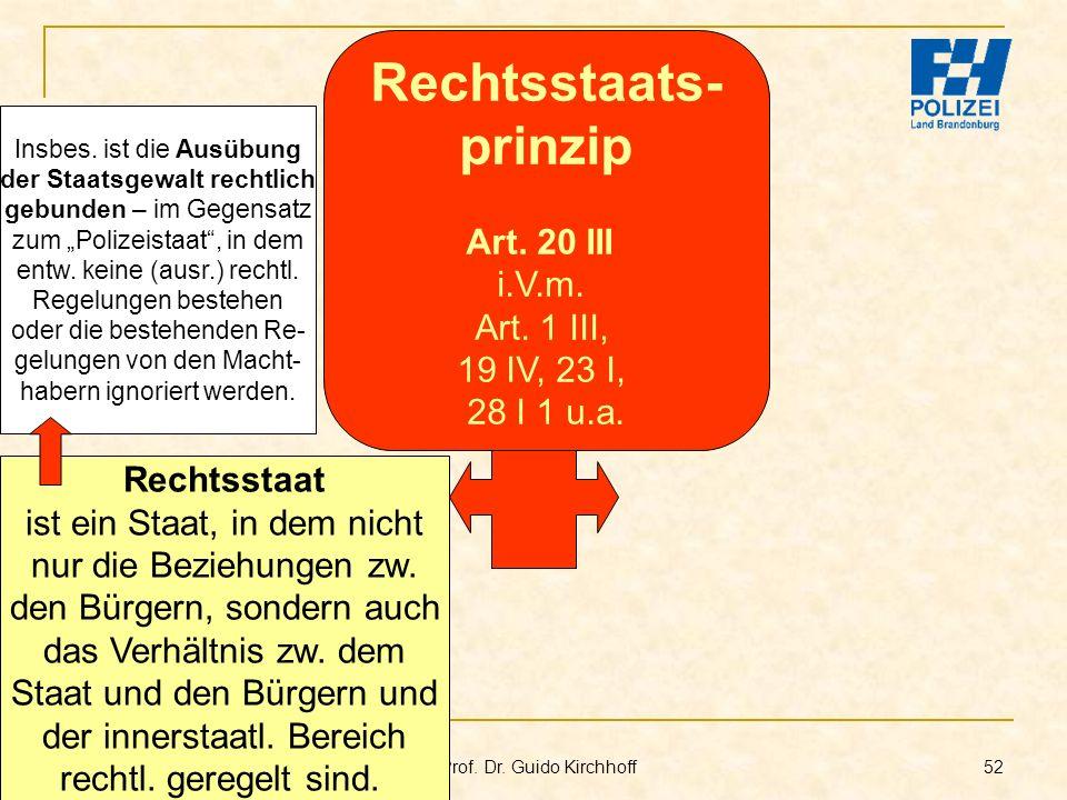 Bachelor-Modul 01.1 Prof. Dr. Guido Kirchhoff 52 Rechtsstaat ist ein Staat, in dem nicht nur die Beziehungen zw. den Bürgern, sondern auch das Verhält