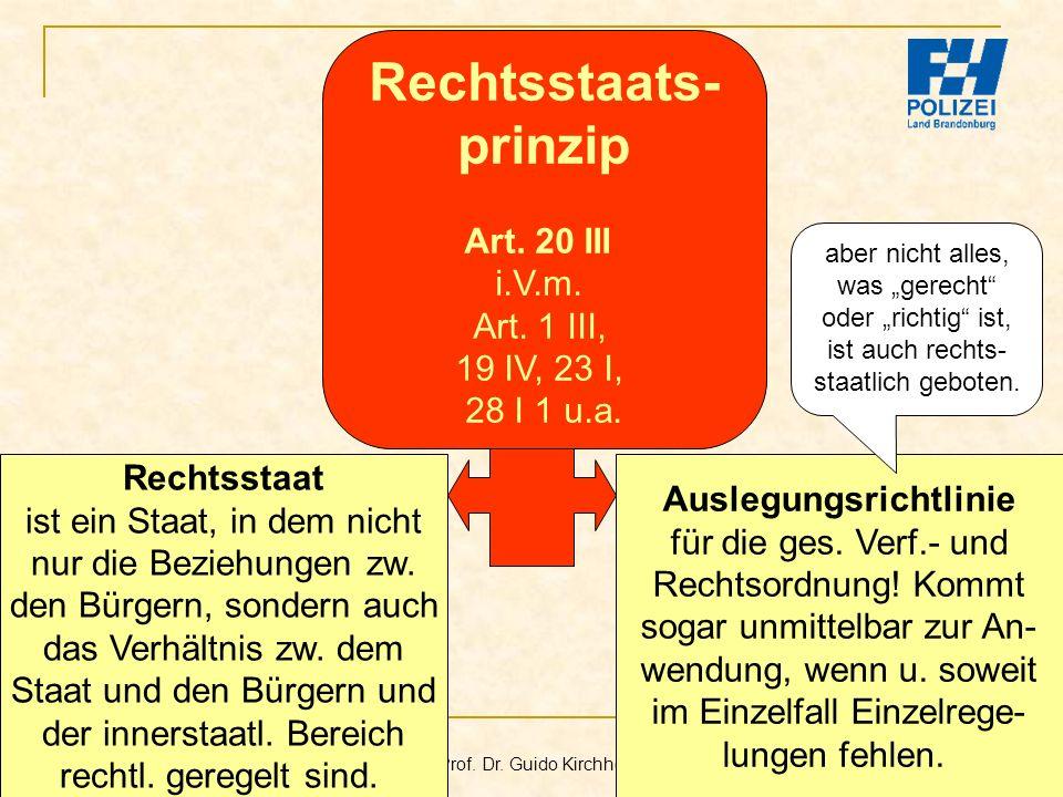Bachelor-Modul 01.1 Prof. Dr. Guido Kirchhoff 53 Auslegungsrichtlinie für die ges. Verf.- und Rechtsordnung! Kommt sogar unmittelbar zur An- wendung,