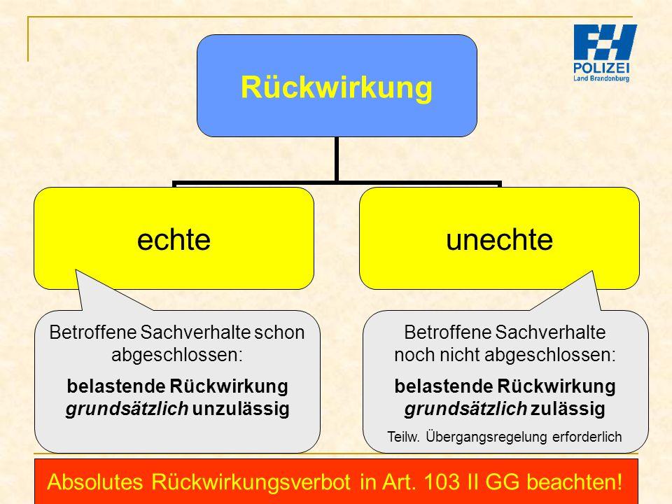 Bachelor-Modul 01.1 Prof. Dr. Guido Kirchhoff 63 Rückwirkung echteunechte Betroffene Sachverhalte schon abgeschlossen: belastende Rückwirkung grundsät