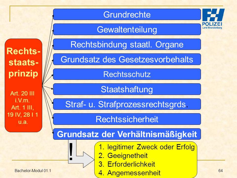 Bachelor-Modul 01.1 Prof. Dr. Guido Kirchhoff 64 Rechts- staats- prinzip Art. 20 III i.V.m. Art. 1 III, 19 IV, 28 I 1 u.a. Rechtsschutz Grundrechte Ge
