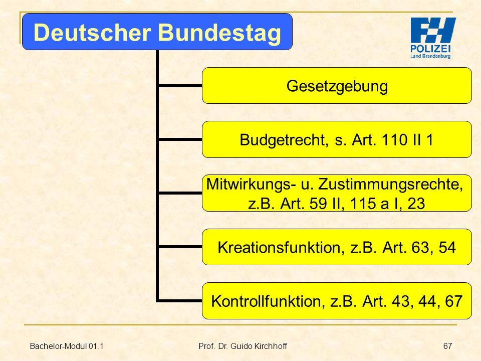 Bachelor-Modul 01.1 Prof. Dr. Guido Kirchhoff 67 Deutscher Bundestag Gesetzgebung Budgetrecht, s. Art. 110 II 1 Mitwirkungs- u. Zustimmungsrechte, z.B