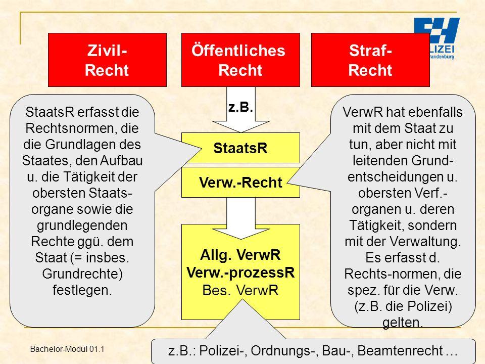 Bachelor-Modul 01.1 Prof. Dr. Guido Kirchhoff 7 Öffentliches Recht Straf- Recht Zivil- Recht Verw.-Recht z.B. Allg. VerwR Verw.-prozessR Bes. VerwR z.