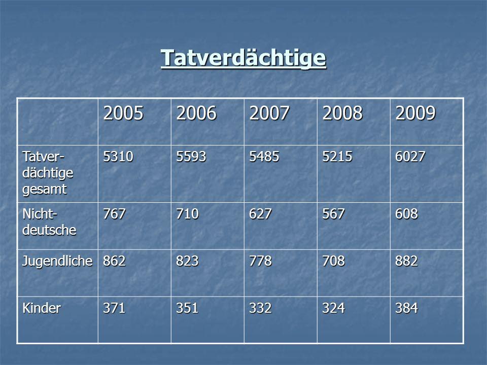 Tatverdächtige 20052006200720082009 Tatver- dächtige gesamt 53105593548552156027 Nicht- deutsche 767710627567608 Jugendliche862823778708882 Kinder3713