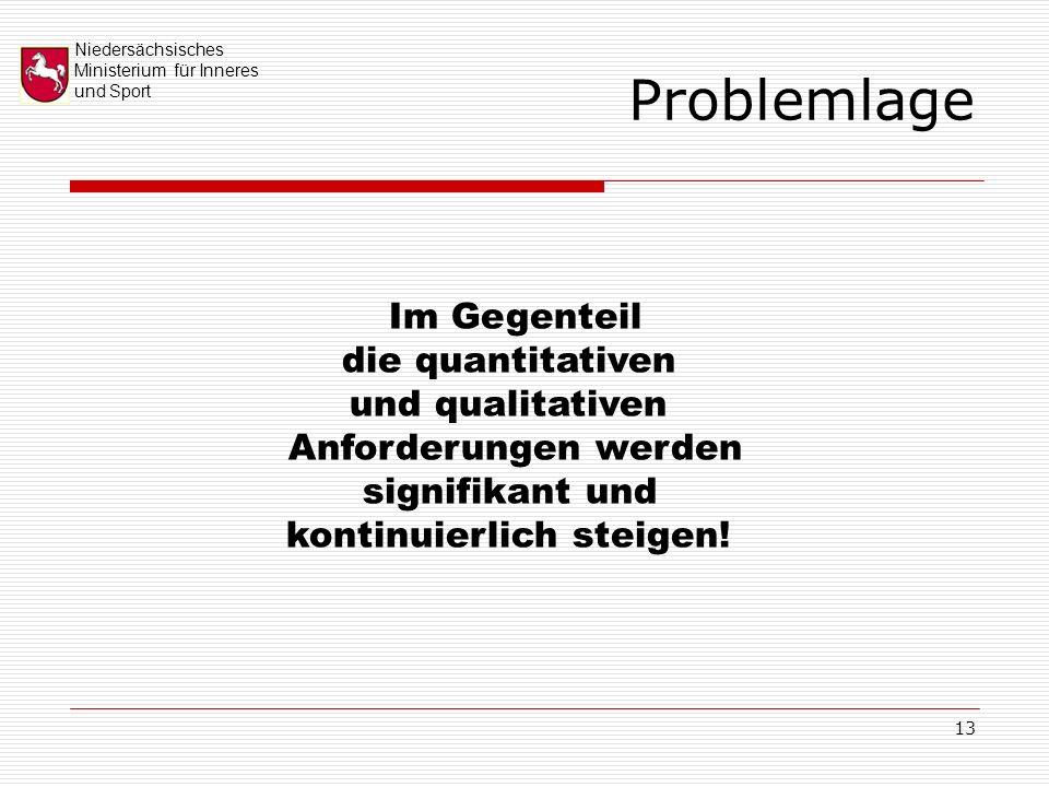 Niedersächsisches Ministerium für Inneres und Sport 13 Problemlage Im Gegenteil die quantitativen und qualitativen Anforderungen werden signifikant und kontinuierlich steigen!