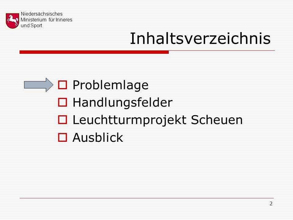 Niedersächsisches Ministerium für Inneres und Sport 2 Inhaltsverzeichnis Problemlage Handlungsfelder Leuchtturmprojekt Scheuen Ausblick