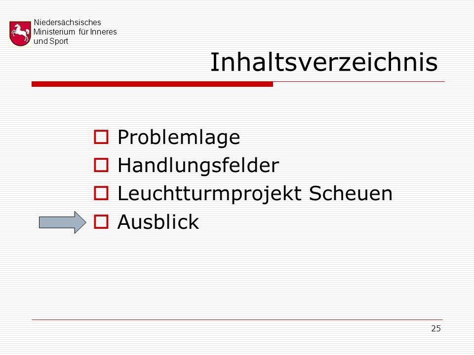 Niedersächsisches Ministerium für Inneres und Sport 25 Inhaltsverzeichnis Problemlage Handlungsfelder Leuchtturmprojekt Scheuen Ausblick