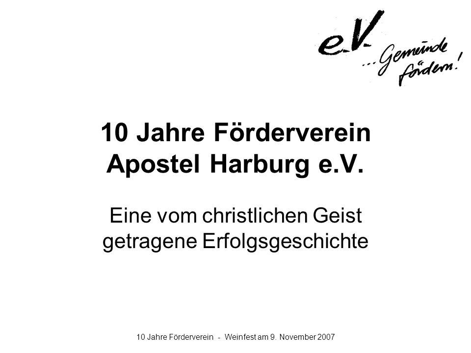 10 Jahre Förderverein - Weinfest am 9. November 2007 10 Jahre Förderverein Apostel Harburg e.V. Eine vom christlichen Geist getragene Erfolgsgeschicht