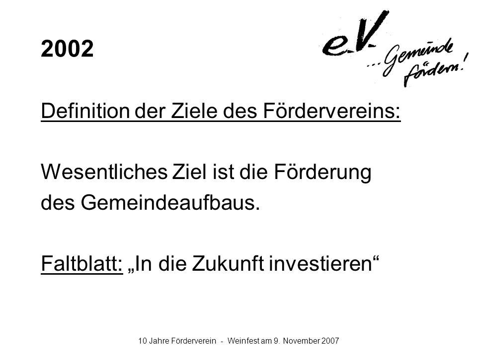 10 Jahre Förderverein - Weinfest am 9. November 2007 2002 Definition der Ziele des Fördervereins: Wesentliches Ziel ist die Förderung des Gemeindeaufb
