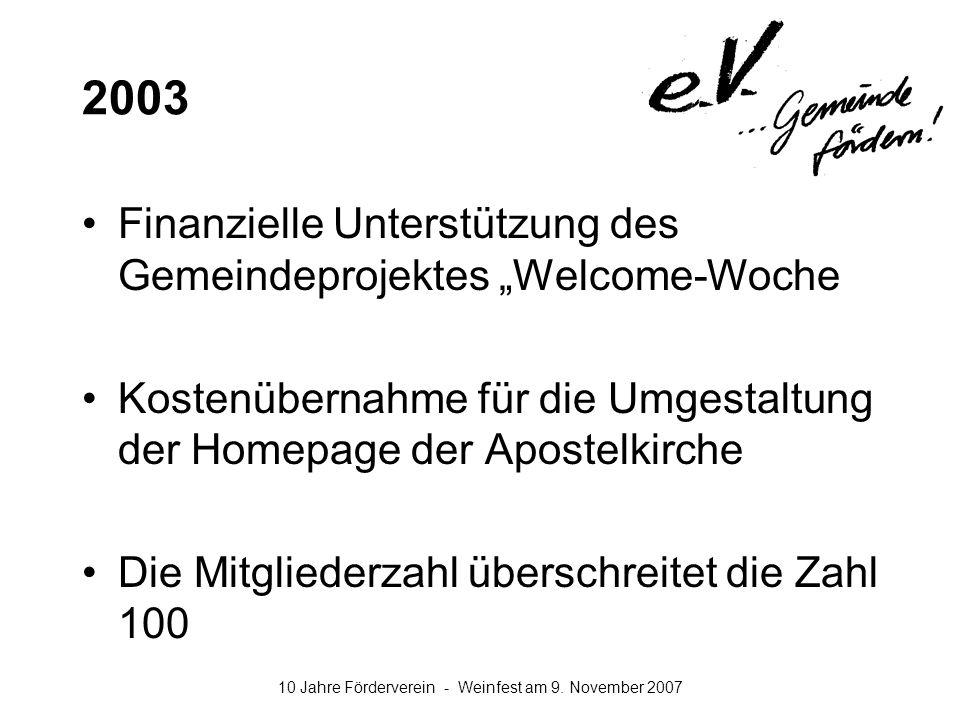 10 Jahre Förderverein - Weinfest am 9. November 2007 2003 Finanzielle Unterstützung des Gemeindeprojektes Welcome-Woche Kostenübernahme für die Umgest