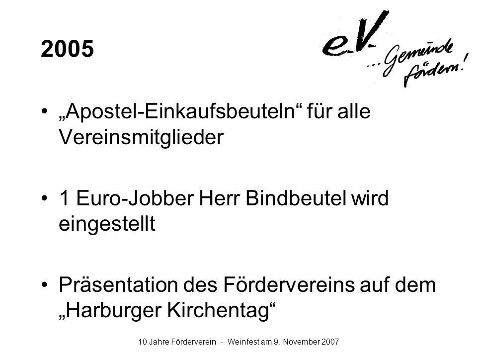10 Jahre Förderverein - Weinfest am 9. November 2007 2005 Apostel-Einkaufsbeuteln für alle Vereinsmitglieder 1 Euro-Jobber Herr Bindbeutel wird einges