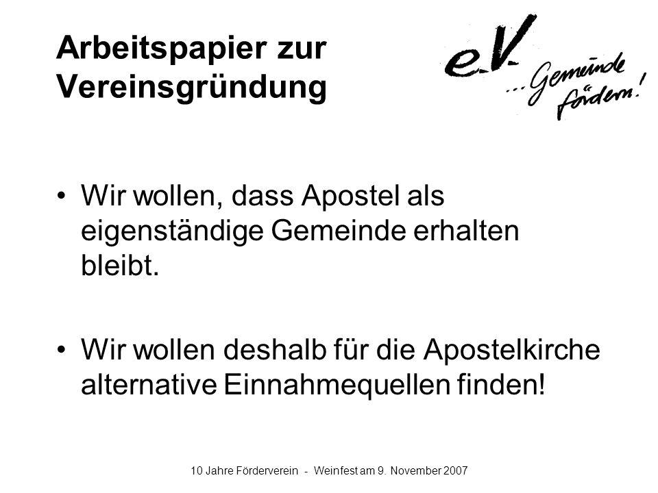 10 Jahre Förderverein - Weinfest am 9. November 2007 Arbeitspapier zur Vereinsgründung Wir wollen, dass Apostel als eigenständige Gemeinde erhalten bl