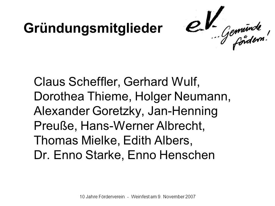 10 Jahre Förderverein - Weinfest am 9. November 2007 Gründungsmitglieder Claus Scheffler, Gerhard Wulf, Dorothea Thieme, Holger Neumann, Alexander Gor
