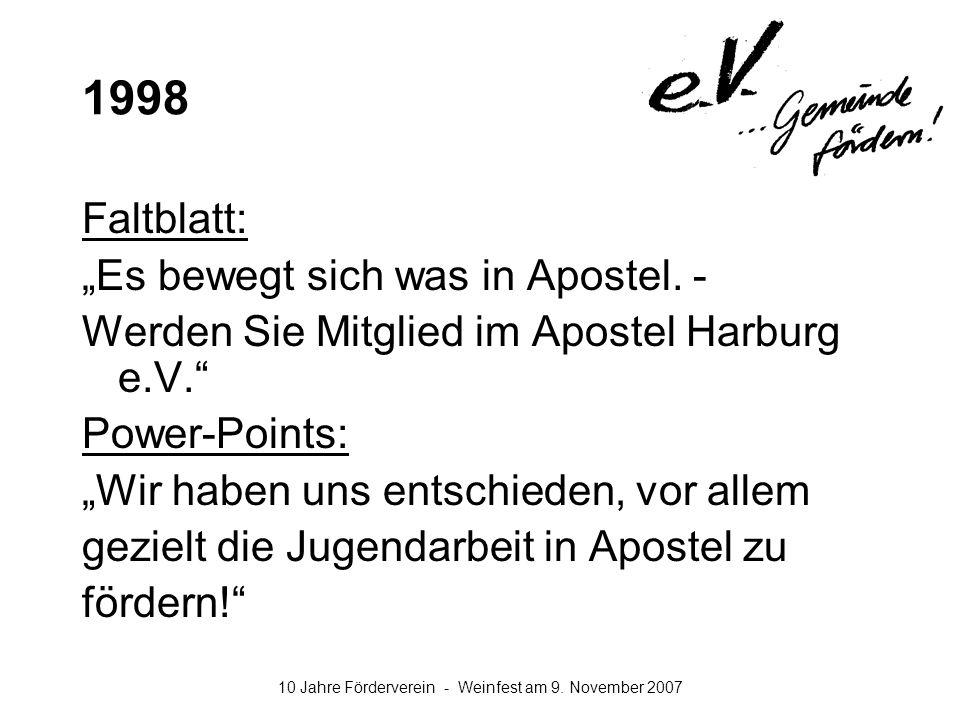 10 Jahre Förderverein - Weinfest am 9. November 2007 1998 Faltblatt: Es bewegt sich was in Apostel. - Werden Sie Mitglied im Apostel Harburg e.V. Powe