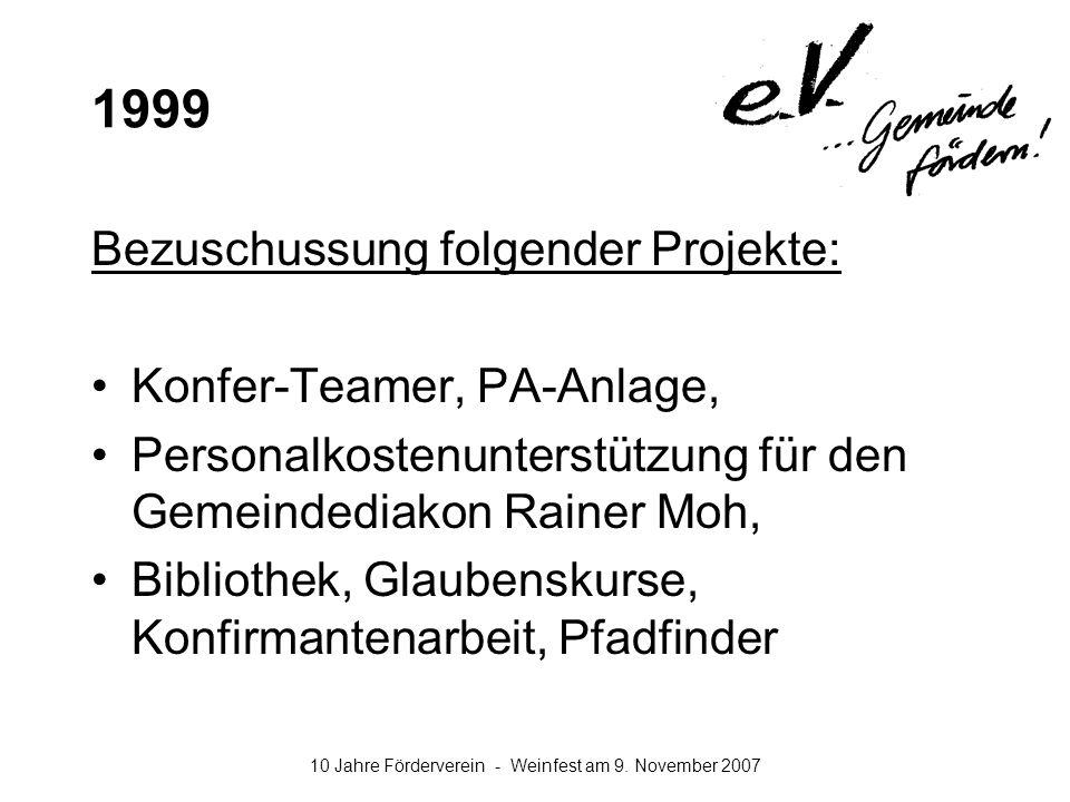 10 Jahre Förderverein - Weinfest am 9. November 2007 1999 Bezuschussung folgender Projekte: Konfer-Teamer, PA-Anlage, Personalkostenunterstützung für