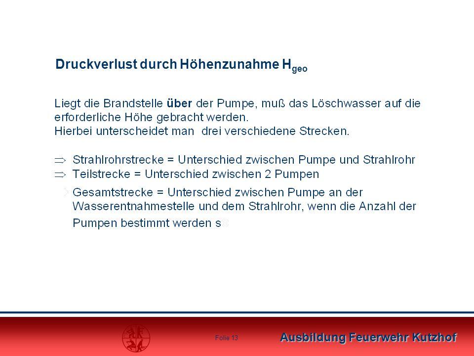 Ausbildung Feuerwehr Kutzhof Folie 12 Je länger die Leitung, desto größer der Druckverlust.