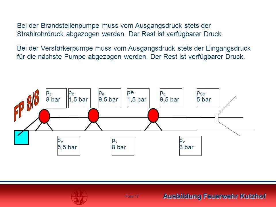 Ausbildung Feuerwehr Kutzhof Folie 16 Der benötigte Druck Druckbedarf am Strahlrohr = 5 bar Druckbedarf am Pumpeneingang = mind. 1,5 bar Der Ausgangsd