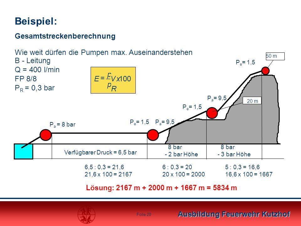 Ausbildung Feuerwehr Kutzhof Folie 19 Lösung: 650 m + 600 m + 500 m = 1750 m 50 m 20 m P a = 8 bar P e = 1,5P a = 9,5 P e = 1,5 Verfügbarer Druck = 6,