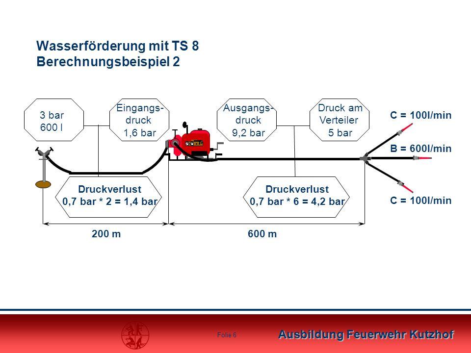 Ausbildung Feuerwehr Kutzhof Folie 5 Wichtig: Die Schlauchlänge zwischen Hydrant und Pumpe beträgt in diesem Beispiel 300m. Es empfiehlt sich jedoch,