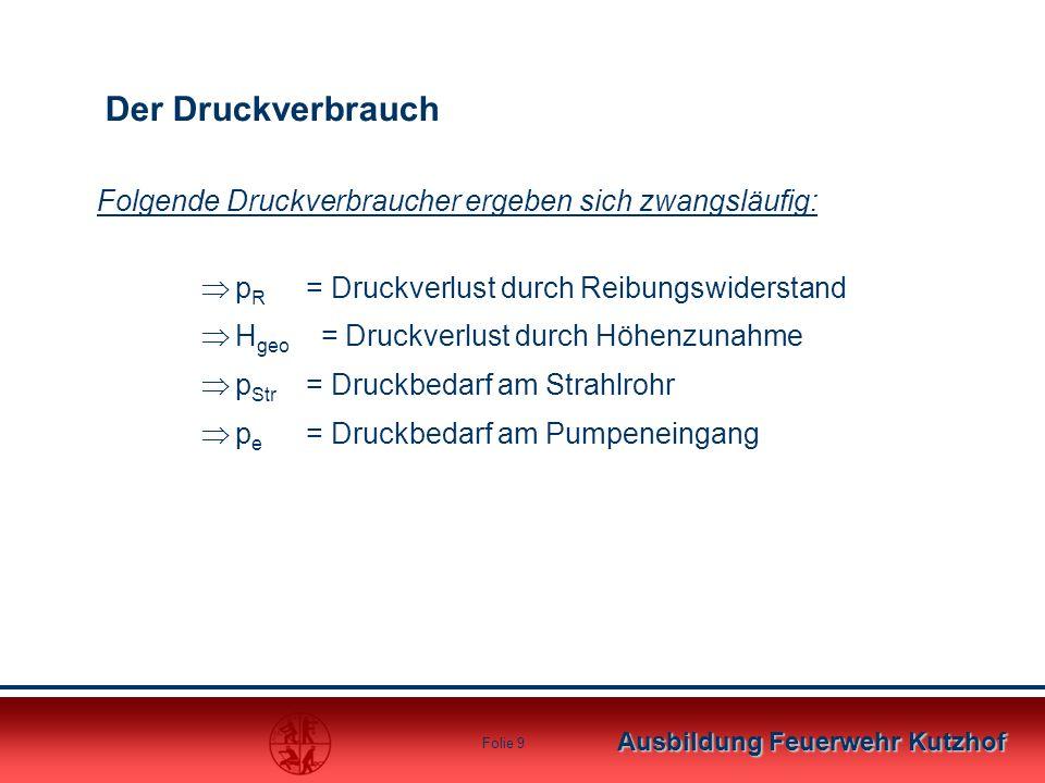 Ausbildung Feuerwehr Kutzhof Folie 8 Wichtig: Die Schlauchlänge zwischen Hydrant und Pumpe darf in diesem Beispiel nicht mehr wie 200m betragen, da so