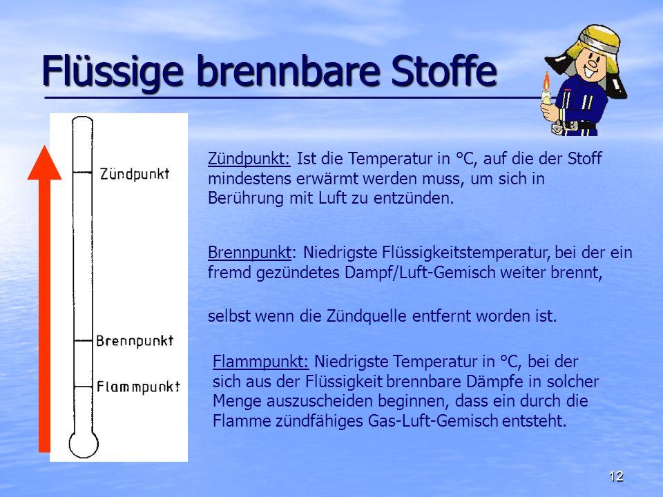 13 Einteilung nach Flammpunkt Früher war durch den Flammpunkt eine Einteilung nach der Verordnung über brennbare Flüssigkeiten möglich.