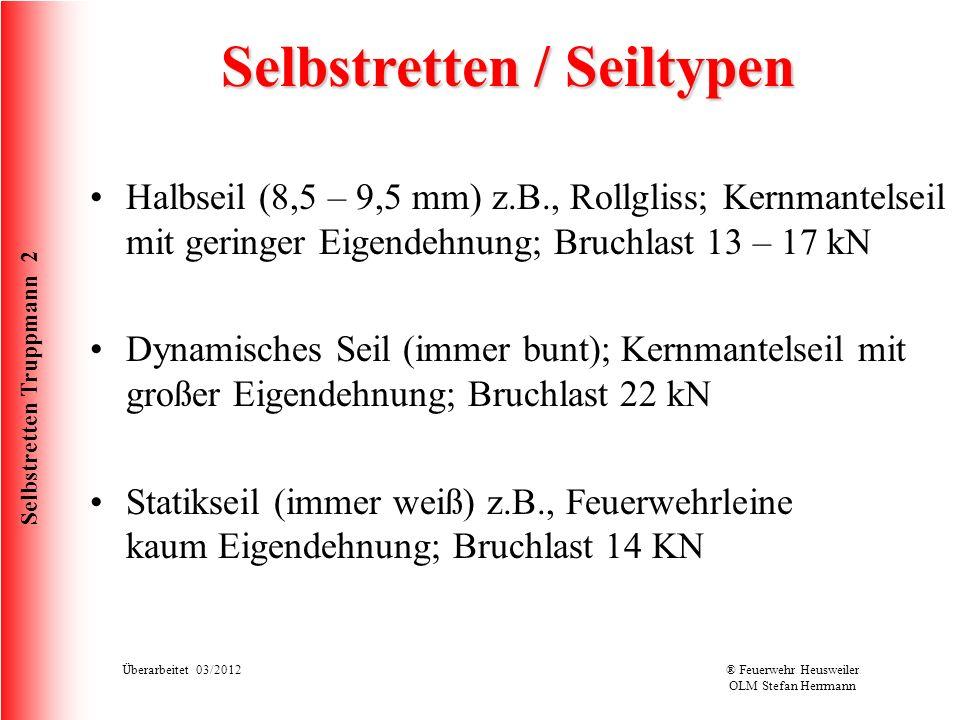 Selbstretten Truppmann 2 Überarbeitet 03/2012® Feuerwehr Heusweiler OLM Stefan Herrmann Selbstretten / Karabiner HMS Karabiner Halbmastwurfsicherungskarabiner Bruchlast 22KN