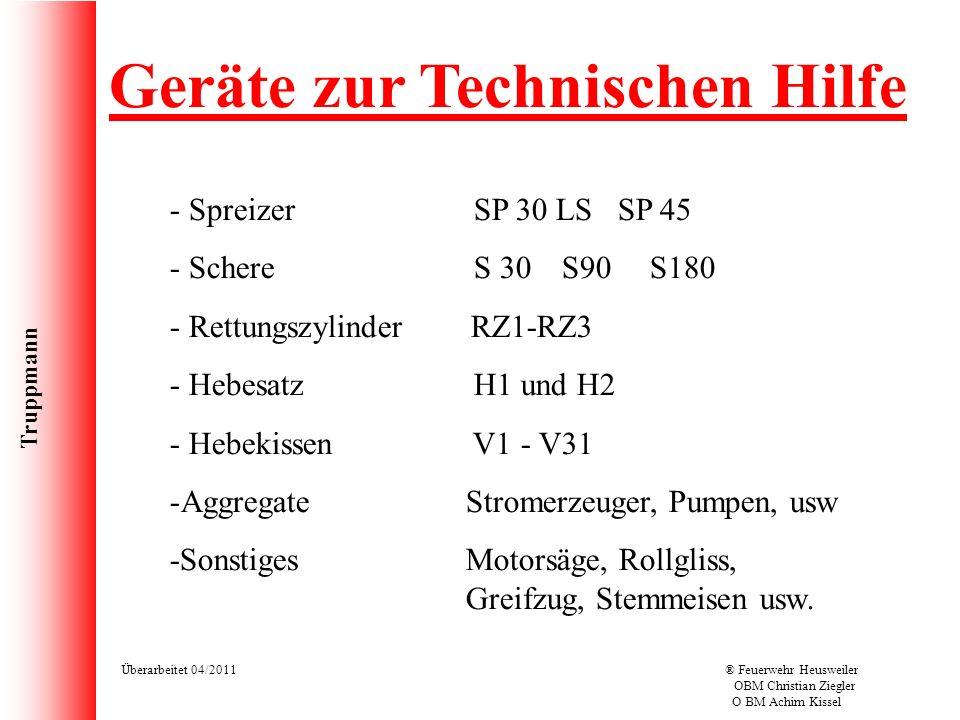 Truppmann Überarbeitet 04/2011® Feuerwehr Heusweiler OBM Christian Ziegler O BM Achim Kissel Geräte zur Technischen Hilfe - Spreizer SP 30 LS SP 45 -