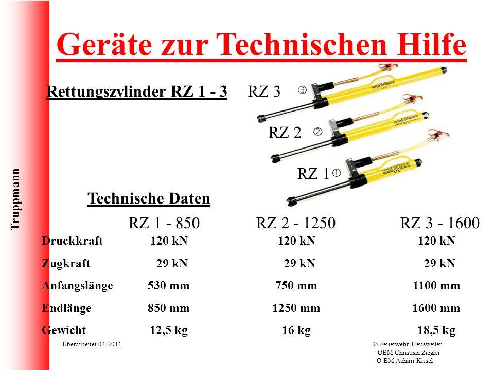 Truppmann Überarbeitet 04/2011® Feuerwehr Heusweiler OBM Christian Ziegler O BM Achim Kissel Rettungszylinder RZ 1 - 3 Geräte zur Technischen Hilfe RZ