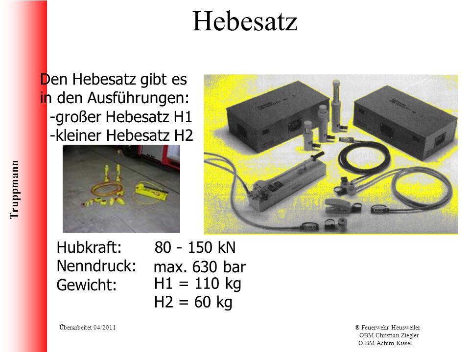 Truppmann Überarbeitet 04/2011® Feuerwehr Heusweiler OBM Christian Ziegler O BM Achim Kissel Hebesatz Den Hebesatz gibt es in den Ausführungen: -große