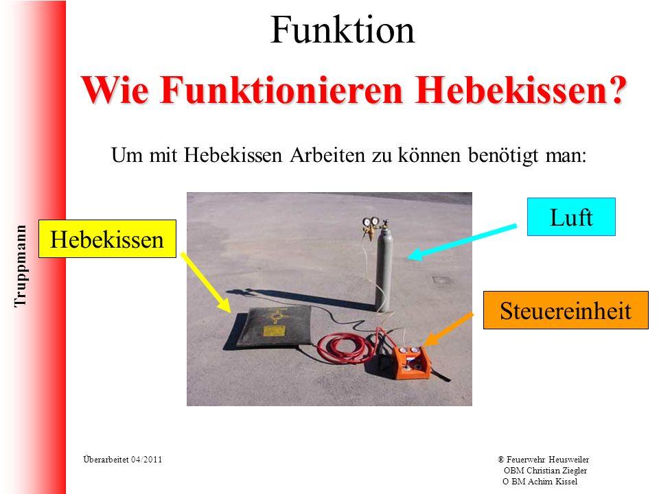 Truppmann Überarbeitet 04/2011® Feuerwehr Heusweiler OBM Christian Ziegler O BM Achim Kissel Um mit Hebekissen Arbeiten zu können benötigt man: Funkti