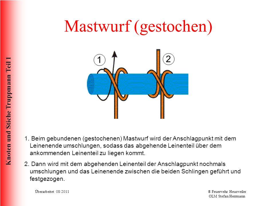 Knoten und Stiche Truppmann Teil 1 Mastwurf (gestochen) 1. Beim gebundenen (gestochenen) Mastwurf wird der Anschlagpunkt mit dem Leinenende umschlunge