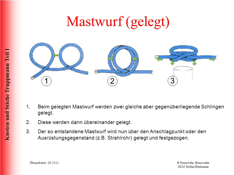 Knoten und Stiche Truppmann Teil 1 Mastwurf (gelegt) 1.Beim gelegten Mastwurf werden zwei gleiche aber gegenüberliegende Schlingen gelegt. 2.Diese wer