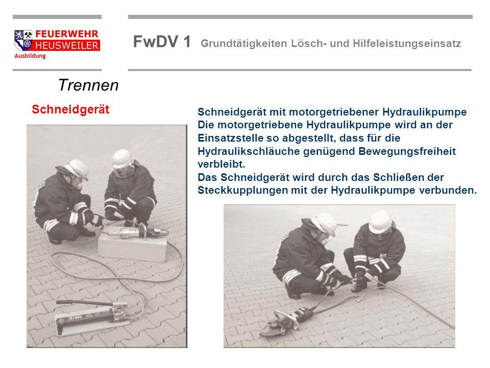 ©OBM Dirk Ziegler OBM Dirk Ziegler FwDV 1 Grundtätigkeiten Lösch- und Hilfeleistungseinsatz Schneidgerät mit motorgetriebener Hydraulikpumpe Die motor