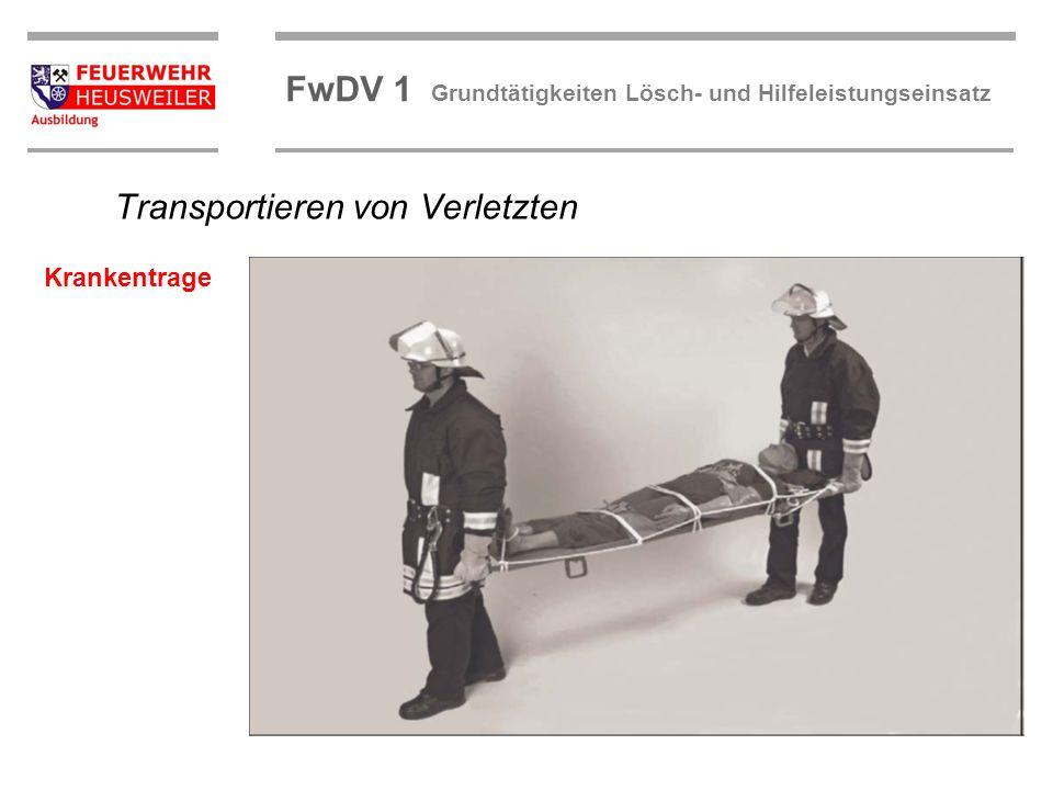 ©OBM Dirk Ziegler OBM Dirk Ziegler FwDV 1 Grundtätigkeiten Lösch- und Hilfeleistungseinsatz Transportieren von Verletzten Krankentrage