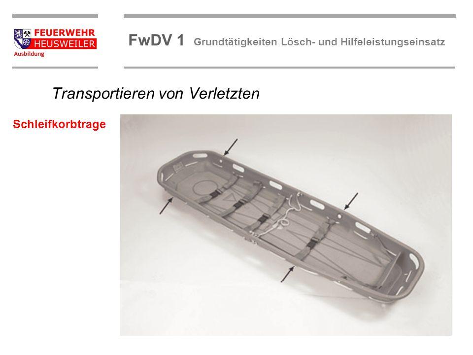 ©OBM Dirk Ziegler OBM Dirk Ziegler FwDV 1 Grundtätigkeiten Lösch- und Hilfeleistungseinsatz Transportieren von Verletzten Schleifkorbtrage