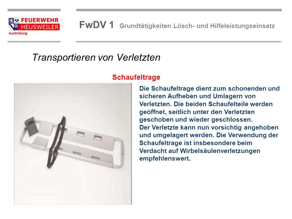 ©OBM Dirk Ziegler OBM Dirk Ziegler FwDV 1 Grundtätigkeiten Lösch- und Hilfeleistungseinsatz Die Schaufeltrage dient zum schonenden und sicheren Aufheb